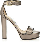 Jimmy Choo HOLLY 120 Pyrite Mirror and Black Nappa Leather Platform Sandals