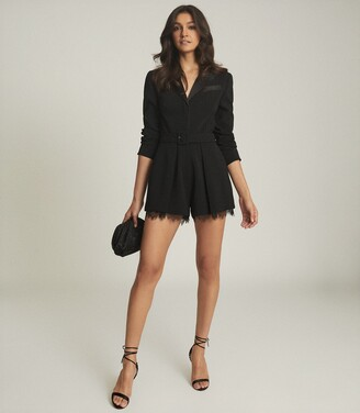 Reiss Lorelli - Lace Trim Playsuit in Black