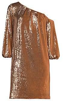 Aidan Mattox Women's Asymmetric Off-the-Shoulder Puff-Sleeve Sequin Shift Dress