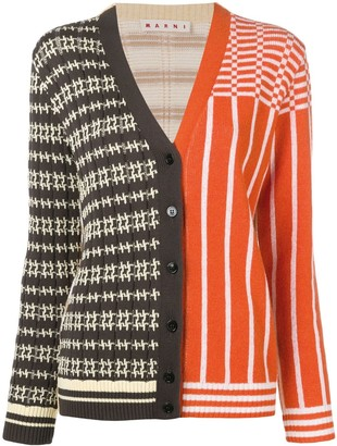 Marni Panelled Patterned Knit Cardigan