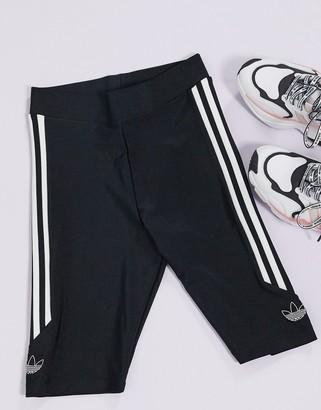 adidas Fakten large side logo legging shorts in black