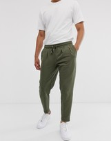 Asos Design DESIGN tapered joggers with pleats in khaki
