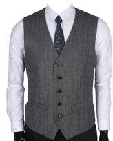 Ruth&Boaz 2Pockets 5Buttons Wool Herringbone / Tweed Business Suit Vest (XXXL, )