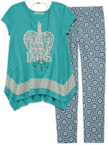 Self Esteem Crochet Trim Tunic and Leggings Set with Necklace - Girls 7-16 and Plus