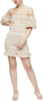 Topshop Ditsy Floral Print Off the Shoulder Minidress