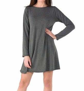 Candid Styles Womens Plain Long Sleeve Stretch A Line Skater Flared Swing Dress Top Plus Size T-Shirt 8-26 Black