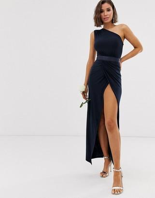 Club L London one shoulder embellished belt bridesmaid maxi dress-Navy