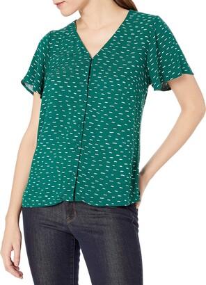 Goodthreads Fluid Twill Covered-Button Short-Sleeve Shirt Dress