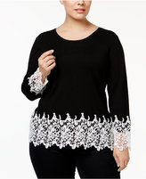 INC International Concepts Plus Size Lace-Trimmed Sweater, Only at Macy's