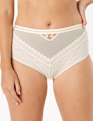 Marks and Spencer Mosaic Lace High Waisted Brazilian Knickers