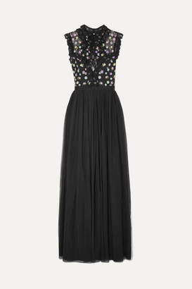 Needle & Thread Utopia Ruffled Lace-trimmed Embroidered Tulle Maxi Dress - Black