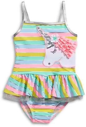 Flapdoodles Little Girl's 2-Piece Striped Unicorn Ruffled Swim Set
