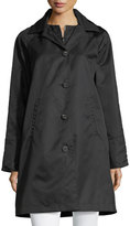 Jane Post Button-Front Long-Sleeve Twill Midi Rain Coat w/ Bib