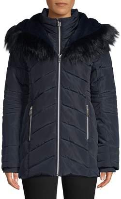 Point Zero Tonal Faux Fur-Trim Zip Jacket