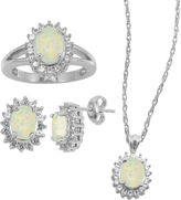 JCPenney FINE JEWELRY Lab-Created Opal & White Sapphire 3-pc. Oval Jewelry Set