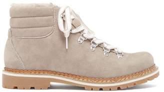 Montelliana Marlena Shearling And Nubuck Hiking Boots - Womens - Dark Grey