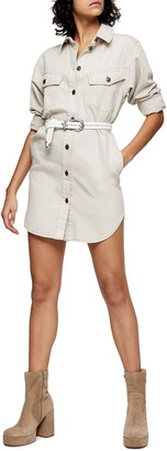 Topshop IDOL Denim Sculpted Long Sleeve Organic Cotton Shirtdress