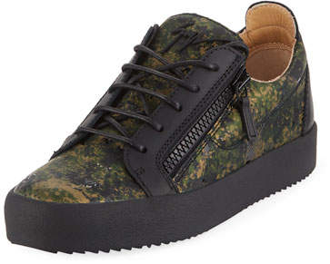 Giuseppe Zanotti Men's Splatter-Print Leather Low-Top Leather Sneakers