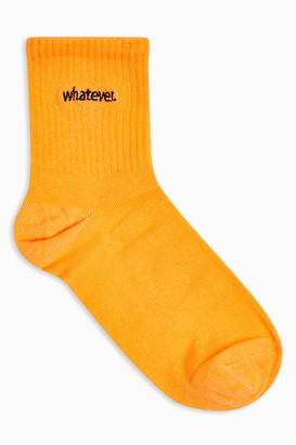 Topshop Womens Orange Whatever Embroidered Tube Socks - Orange