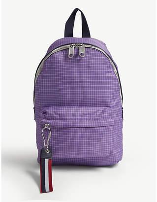 Logo tape grid pattern backpack