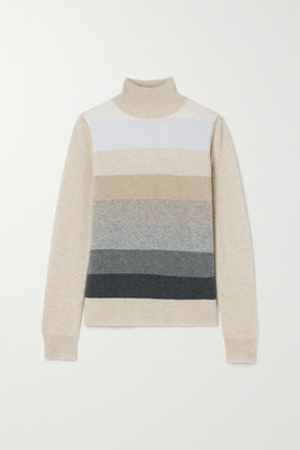 Madeleine Thompson Diana Striped Cashmere Turtleneck Sweater - Beige