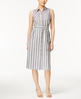 NY Collection Petite Cotton Striped Midi Shirtdress