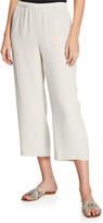 Eileen Fisher Petite Cropped Silk Georgette Straight-Leg Pants