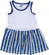 Erge Spandex Dress (Baby) - White/Royal-24 Months