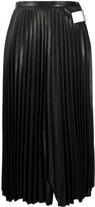 Helmut Lang Pleated Leather Midi Skirt