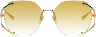 Gucci Gold and Yellow Round Sunglasses