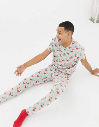 Asos Design DESIGN meggings in Christmas dinosaur print-Grey