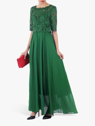 Jolie Moi Lace Overlay Maxi Dress