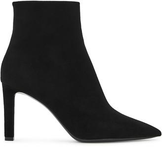 Saint Laurent Kate 85 black suede ankle boots