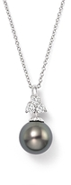 Bloomingdale's Cultured Tahitian Pearl Pendant Necklace with Diamonds in 18K White Gold, 18