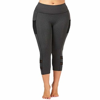 waitFOR Women Plus Size Pure Colour Leggings High Waist Breathable Hollow Out Yoga Capri Pants Ladies Gym Sportswear Workout Fitness Stretch Running Trousers Skinny Jogging Bottoms Grey