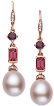 Effy Pink Cultured Freshwater Pearl (12 x 10mm), Multi-Gemstone (2 ct. t.w.) & Diamond (1/8 ct. t.w.) Drop Earrings in 14k Rose Gold