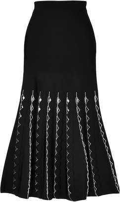 Alexander McQueen Cutout Stretch-knit Midi Skirt