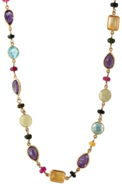 "Effy Multi-Gemstone (103 ct. t.w.) 36"" Statement Necklace in 14k Gold"