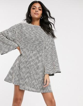 ASOS DESIGN marl smock swing mini dress in grey marl