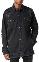 Topman Men's Aaa Collection Longline Distressed Denim Jacket