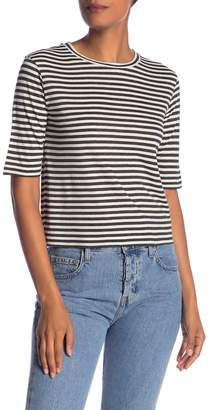 Vince Elbow Sleeve Stripe Silk Blend T-Shirt