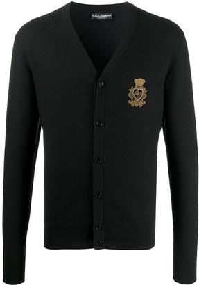 Dolce & Gabbana patch textured cardigan