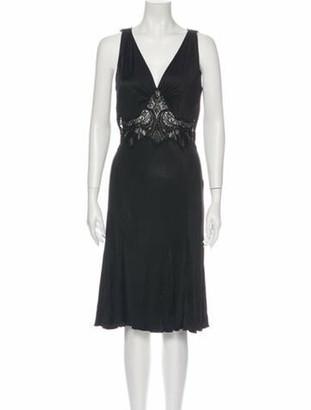 Versace Plunge Neckline Knee-Length Dress Black