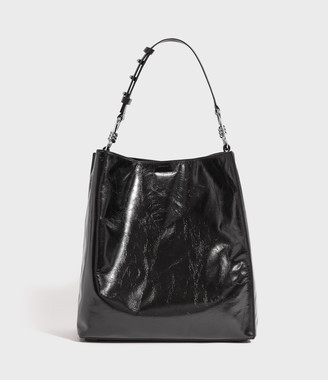 AllSaints Captain Shiny North South Leather Tote Bag
