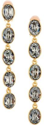 Oscar de la Renta Oval Swarovski Crystal Linear Clip-On Earrings