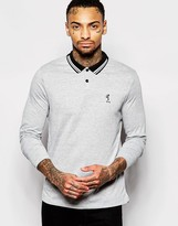 Religion Long Sleeve Polo Shirt With Tipped Collar - Grey