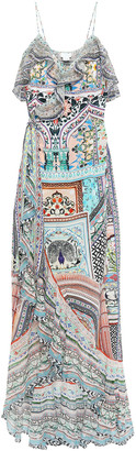 Camilla Crystal-embellished Ruffled Printed Silk Crepe De Chine Maxi Wrap Dress