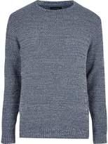 River Island Blue Textured Knit Jumper
