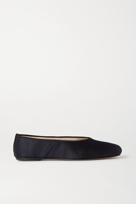 The Row Satin Ballet Flats - Navy