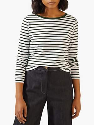 Jigsaw Contrast Neck Stripe Cotton Top, Khaki
